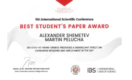 Cena za nejlepší studentský příspěvek v rámci konference International Days of Science pro studenta doktorského studia KREG Alexandra Shemeteva
